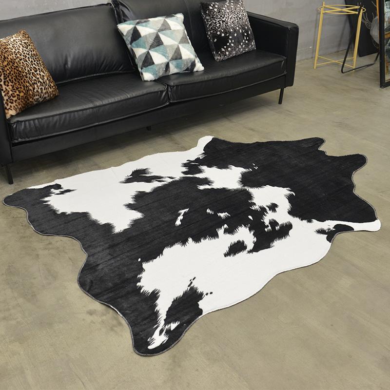 北欧美式皮毛地毯牛皮大地垫纹黑白软装卧室奶牛客厅服装店拍照