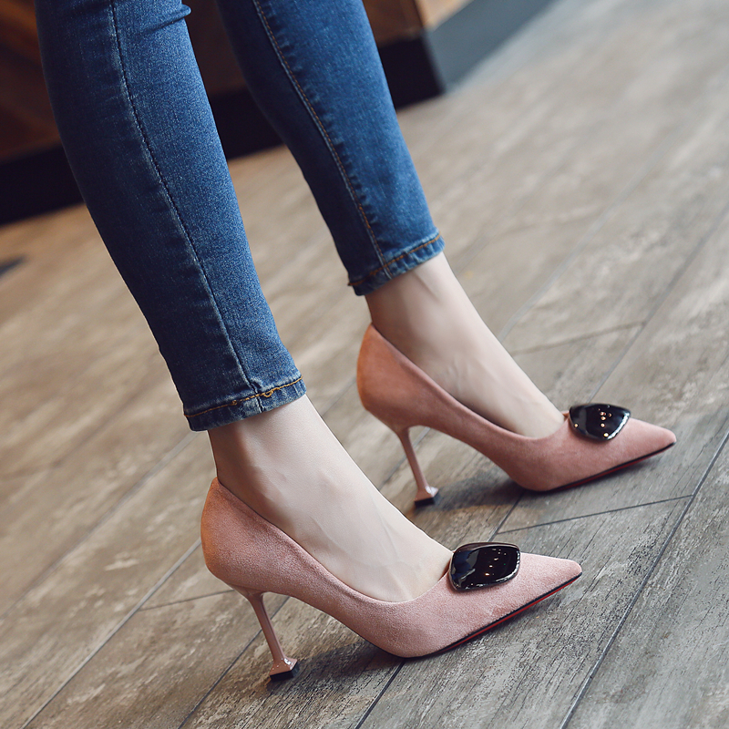 Other Autumn 2018 New Female Pointed Head Wild The Fine Temperament Buckle Cat With Shallow Mouth Single Shoes Womens Shoes Summer