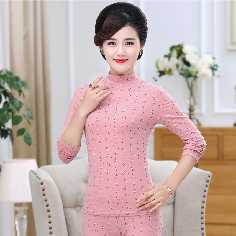 In the high collar autumn clothes autumn pants female mother warm underwear thin personal bottoming suit cotton middle-aged cotton sweater