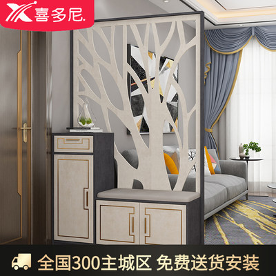 New Chinese shoe cabinet Xuanzhan integrated simple modern screen hollow decoration partition into the door living room cabinet light luxury