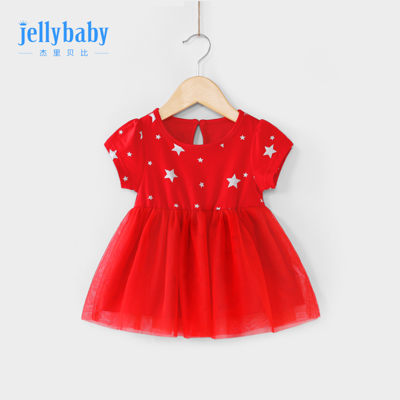 Baby skirt 2019 new Western 0-1 years old baby short-sleeved dress Princess summer girl dress red