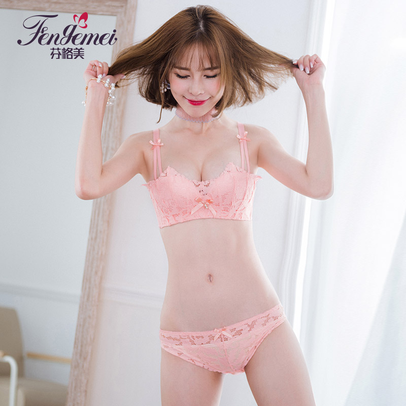 30bf685cacb2 Lace no steel underwear set girls Japanese students sexy temptation bra  gather gather milk thin section small bra