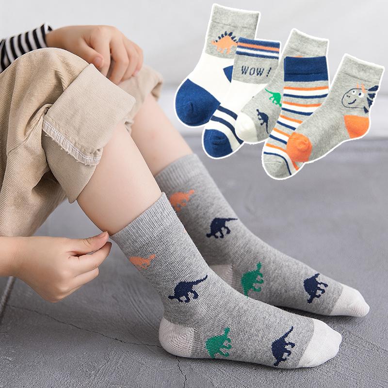 儿童袜子春秋纯棉男童袜中筒1-3-5-7-9-12岁宝宝卡通袜小学生孩子