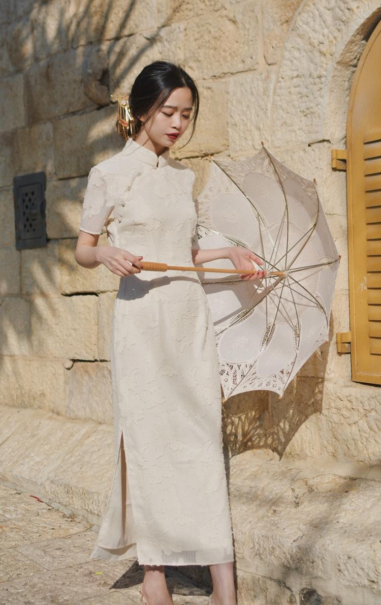 星星小店WANTING晚《只否只否》兩色繡花古典長旗袍 復古改良中長款旗袍裙