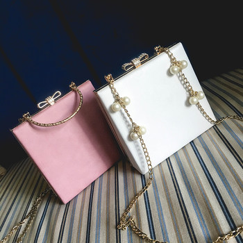 2019 new pearl chain small square bag female box bag solid color retro lock rhinestone bag small box shoulder bag