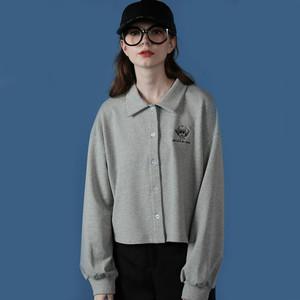 2020新款灰色卫衣女高腰短款宽松小个子开衫日系春秋薄款POLO衫潮