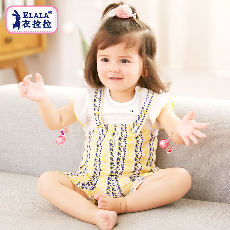 ac21159f590 ... 0-1 years old  Share. Clothing pull 2018 summer baby round neck set girl  thin section baby short sleeve children clothes