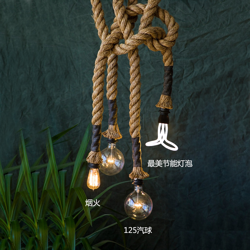 Home Theater Rope Lighting: RARE Rope Vintage Industrial Edison Ceiling Lamp Light