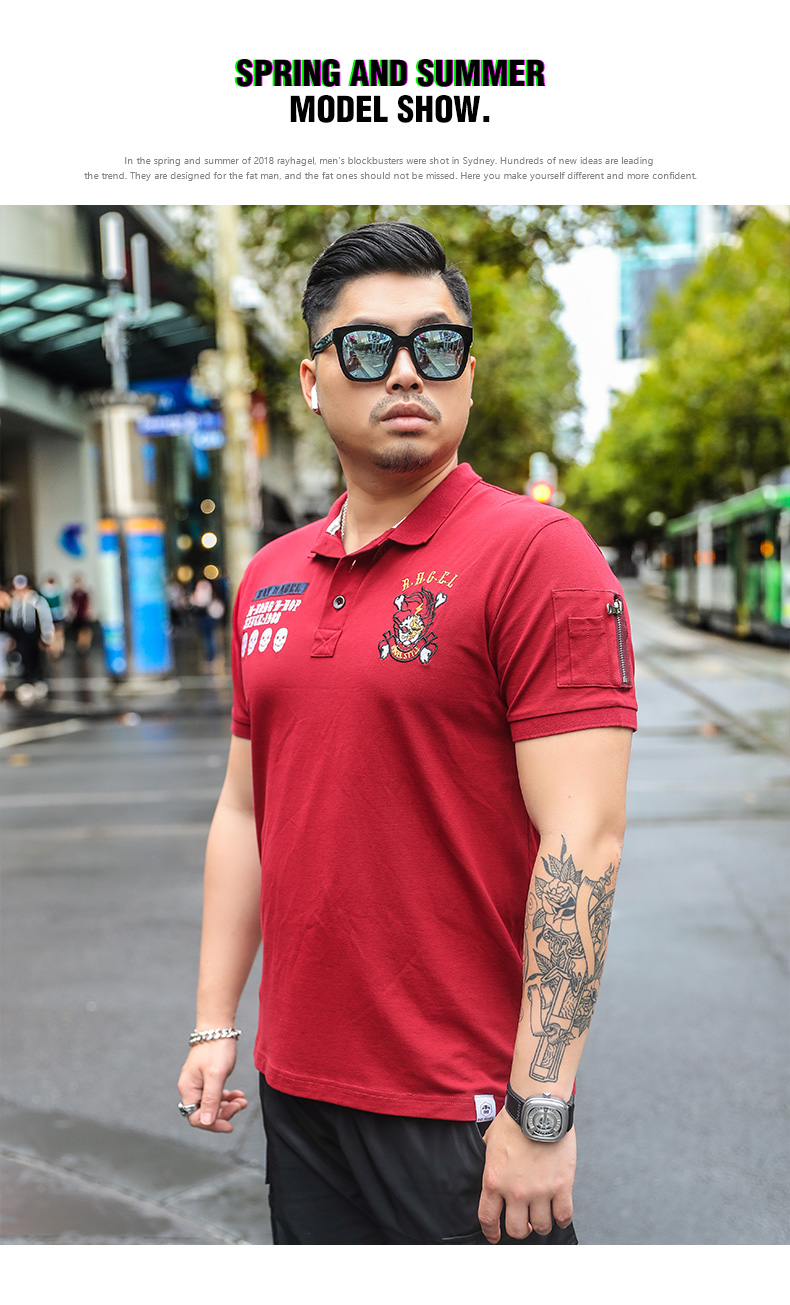 Rehhagel tide thương hiệu polo áo sơ mi nam chất béo người đàn ông cộng với phân bón để tăng lỏng thêu T-Shirt micro chất béo kích thước lớn nam ngắn tay áo áo kẻ nam