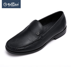 金利来新款男鞋头层牛皮耐磨耐穿时尚百搭圆头套脚商务休闲皮鞋