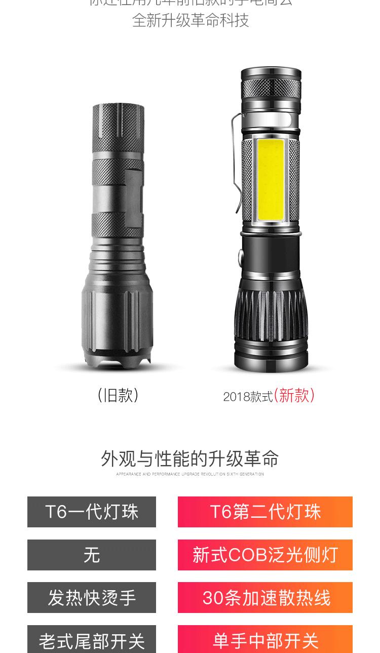 手电筒强光可充电超亮多功能特种兵防水家用户外远射详细照片