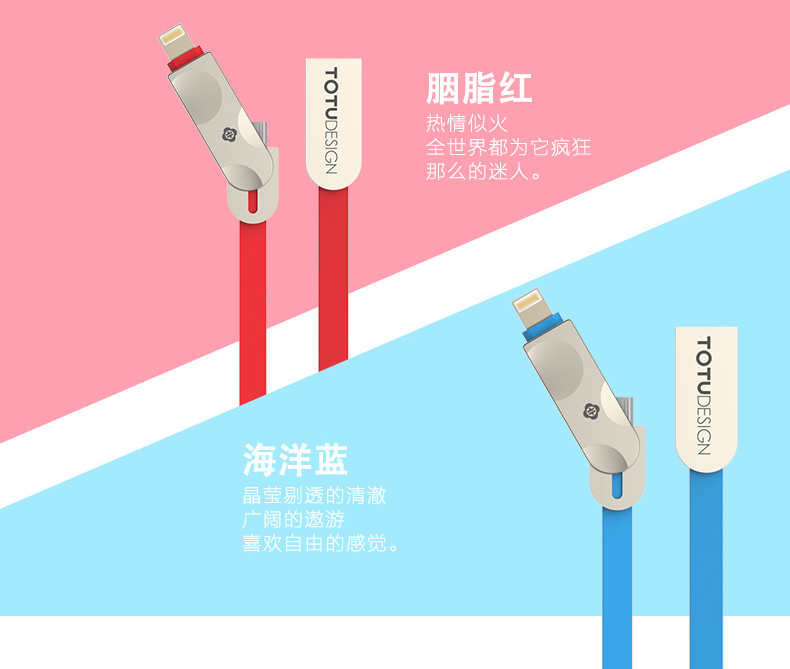 TOTU Zinc Alloy Connector Rhombic Quick Charge Lightning+Micro USB Candy Cable for Apple iPhone iPad Android Smartphones Tablet