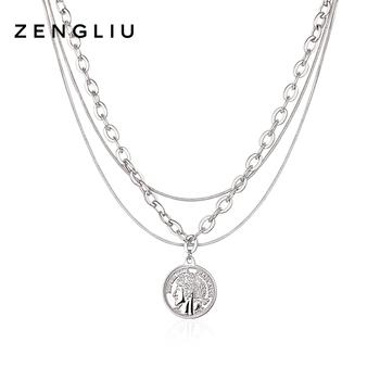 Ожерелья,  ZENGLIU многослойный сложить носить ретро ожерелье женщина ins волна темперамент личность европа и америка хип-хоп лицензирование подвески ключицы цепи, цена 1069 руб