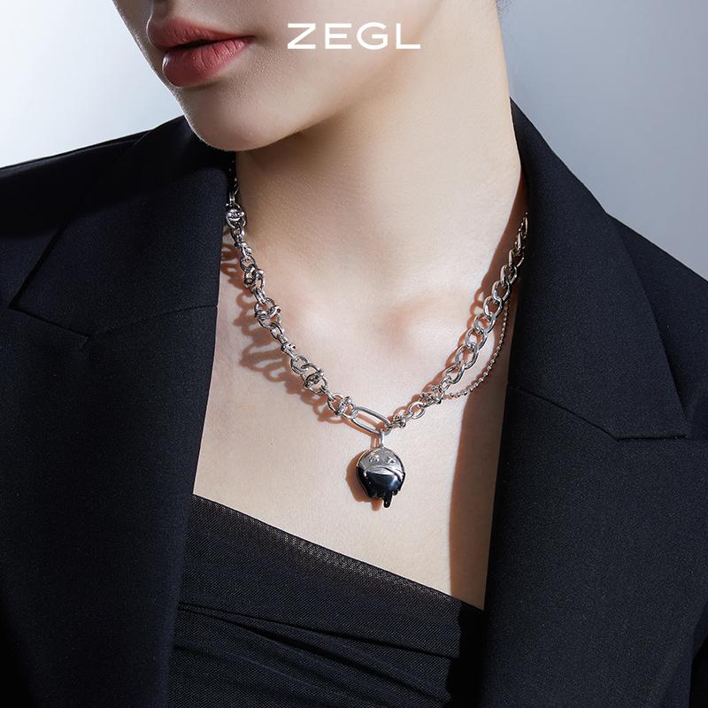 【双11预售】ZEGL设计师搞怪项链女ins嘻哈小众设计感锁骨毛衣链