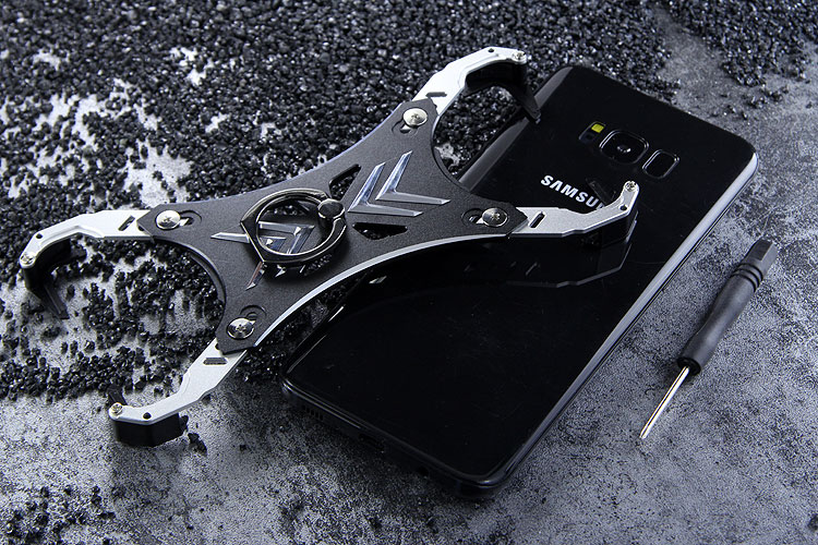 R-Just Blade Master Ring Holder Shockproof Aerospace Aluminum Metal Shell Case Cover for Samsung Galaxy S8 Plus & Galaxy S8