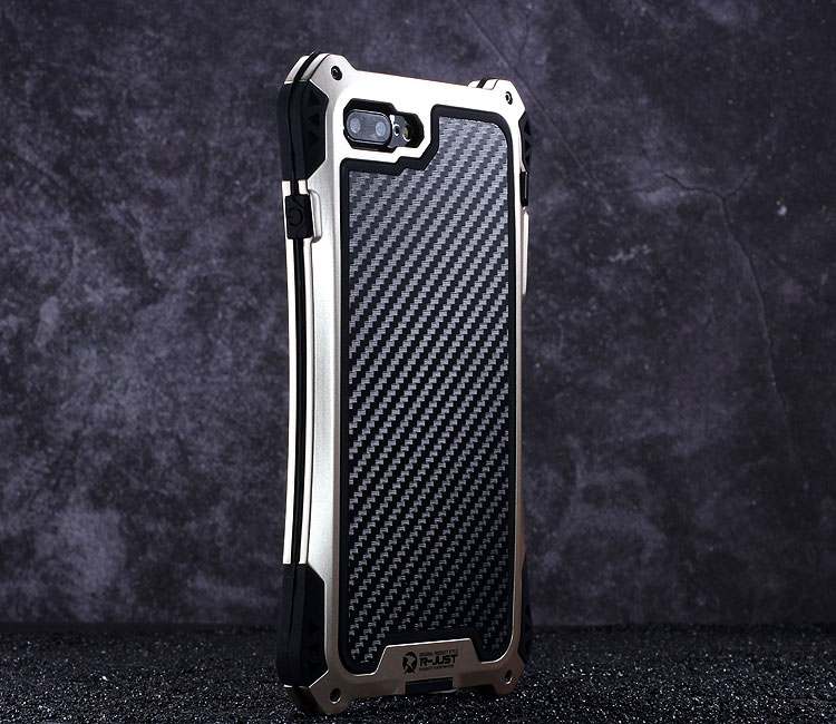 R-Just Amira Heavy Duty Dirtproof Shockproof Rainproof Aluminum Metal Bumper Carbon Fiber Back Cover Case for Apple iPhone 7 Plus & iPhone 7