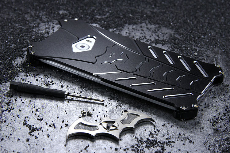 R-Just Batman Shockproof Aluminum Shell Metal Case with Custom Stent for Xiaomi Mi Note 2