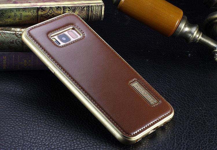 iMatch Luxury Aluminum Metal Bumper Premium Genuine Leather Back Cover Case for Samsung Galaxy S8 Plus/S8