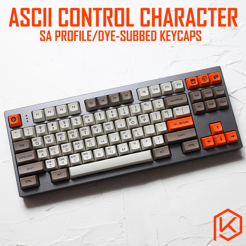 ASCII control code beige gray color matching sublimation