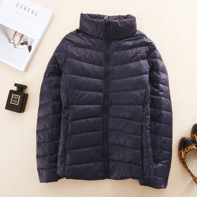 Brand women's autumn and winter light down jacket short paragraph collar cultivating Korean version of the classic YRY0102 navy blue