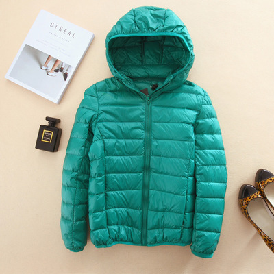 Brand women's 2017 winter light down jacket female short hooded lightweight thin jacket YRY0132 green