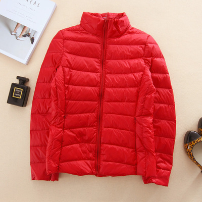 Brand women's autumn and winter 2017 thin and light down jacket Slim was thin tide Korean YRY0062 dark red
