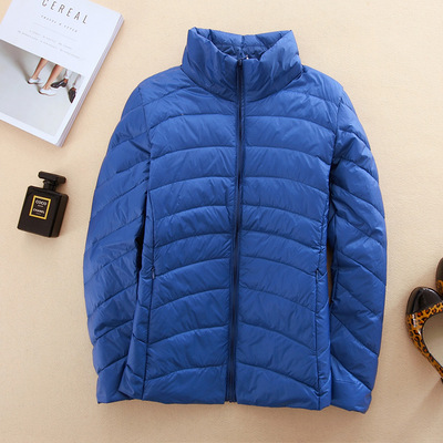 Brand women's autumn and winter paragraph thin thin collar stand slim slim down jacket Korean YRY0022 sapphire blue