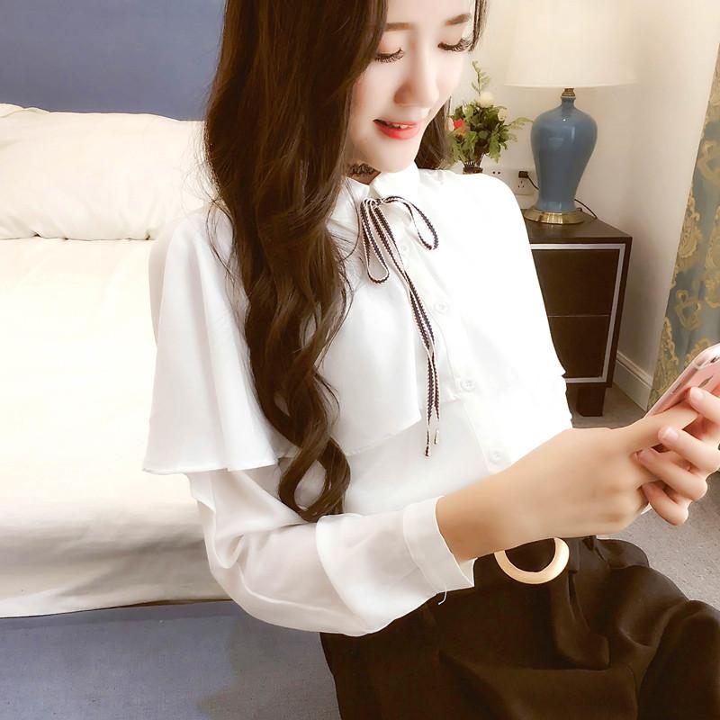 雪纺衬衫女长袖韩版2019秋装新款休闲百搭显瘦系带斗篷式衬衣上衣