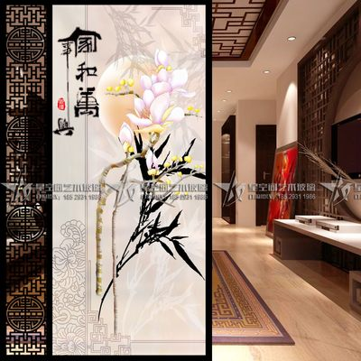 Modern new Chinese frosted deep-carved art glass entrance screen partition background wall Magnolia Home He Wanshixing