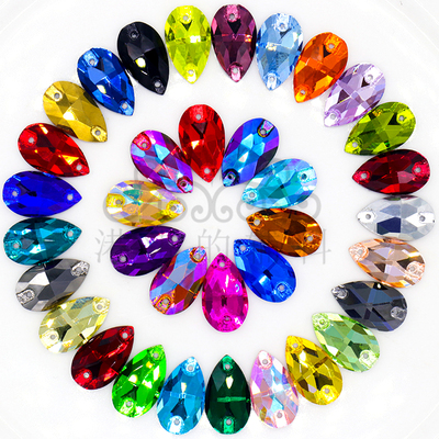 Glass Flash Drill Modern Droplet Hand-sewn Drill Fantasy Color Stereo Drill Face-to-Face Jewelry Shoes Latin Dance