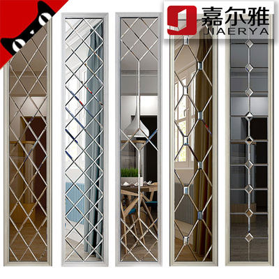 Fighting mirror car side diamond silver tea mirror gray black mirror dining room TV background wall shoe cabinet frame art glass