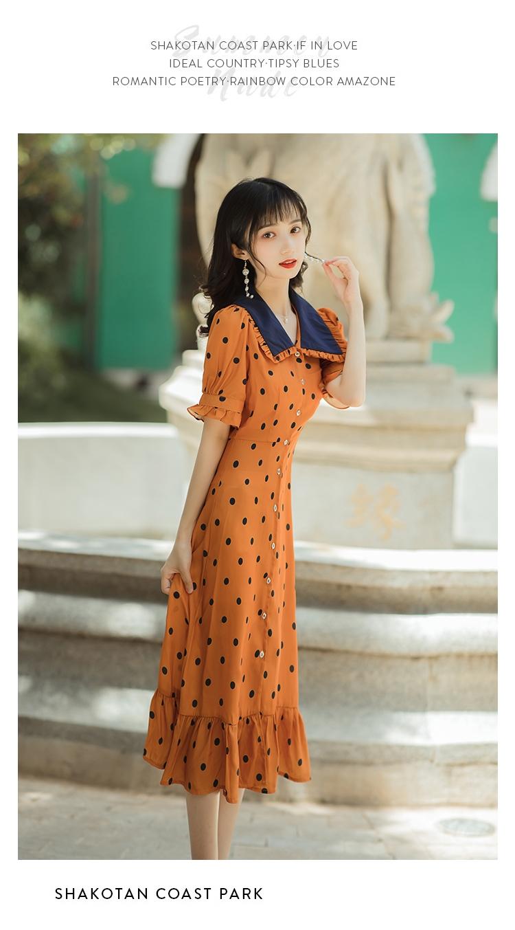 韓日美代購法式復古少女波點娃娃領溫柔初戀連身裙女夏可鹽可甜氣質顯瘦仙女