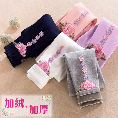 3-10 CUHK girls plus velvet leggings children's children's wear can wear winter baby thick warm casual pants