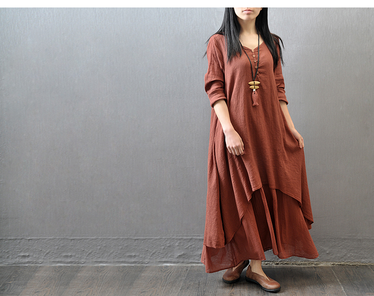 491ac3a51d2 Plus Size Vintage Women Cotton Linen Boho Long Maxi Dress Vestidos Casual  Solid Spring Loose Full Sleeve V Neck Button Dress Holiday Dresses Backless  Dress ...