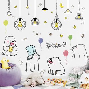 儿童房装饰墙纸自粘可移除卡通身高墙贴