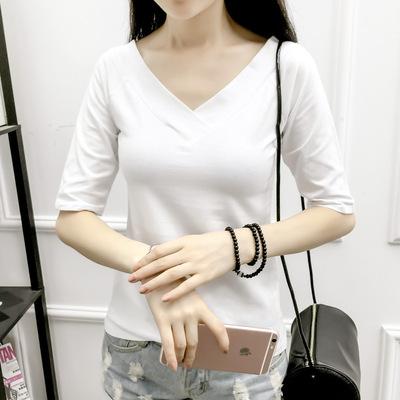 秋夏季新款低领白色修身上衣T恤女装V领露背纯棉五分袖打底衫