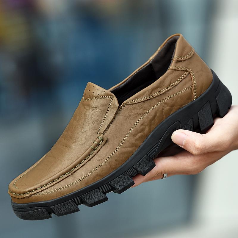 大头男士男爸爸韩版保罗皮鞋商务春季新款中年男鞋真皮v大头骆驼鞋