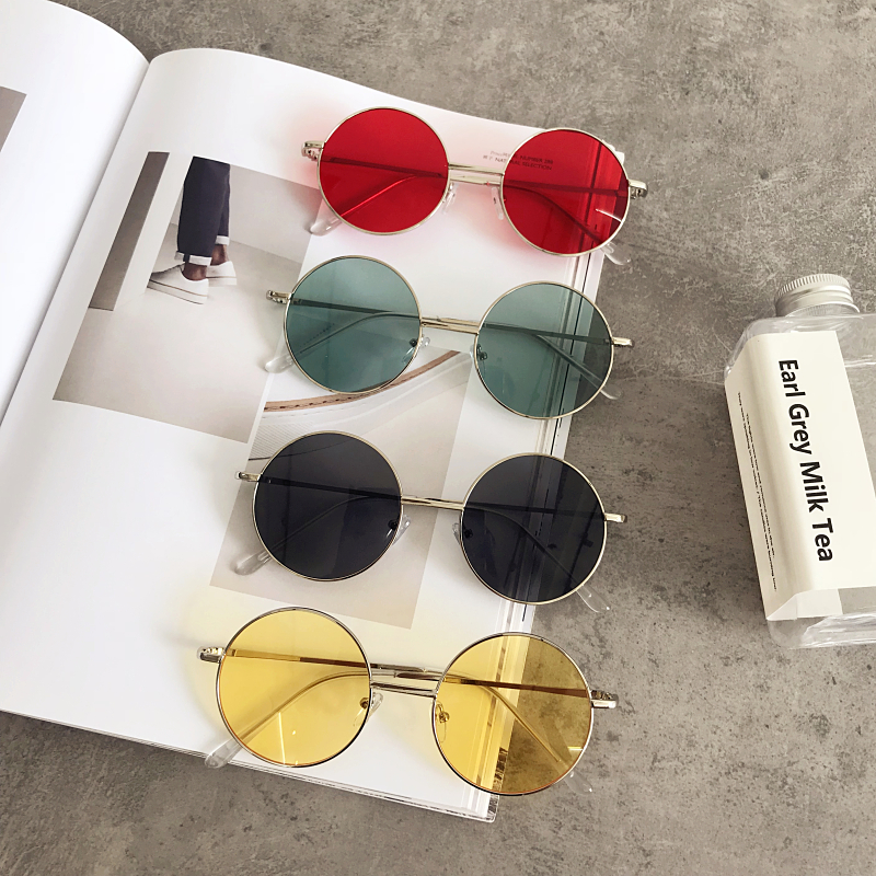 Korea chic Harajuku wind glasses female retro metal round frame sunglasses round face net red with the same paragraph fashion sunglasses tide