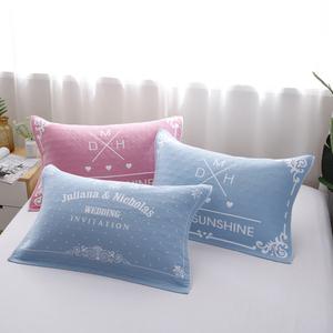 纯棉枕巾包邮一对装结婚枕巾纱布情侣欧式高档成人通用单人枕头巾