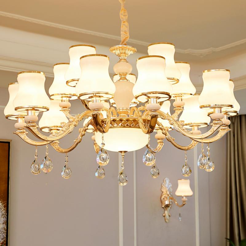 欧式水晶吊灯简欧客厅灯餐厅卧室玉石锌合金奢华大气现代简约灯具