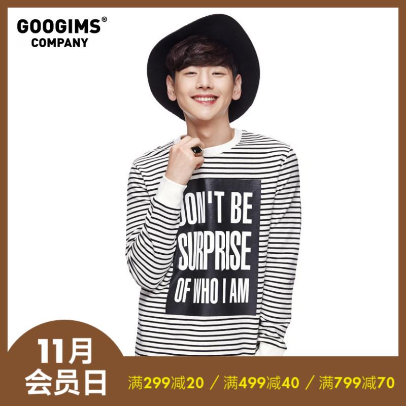 韩国GOOGIMS2019秋季男女印花条纹同款白新品字母原创黑色T恤