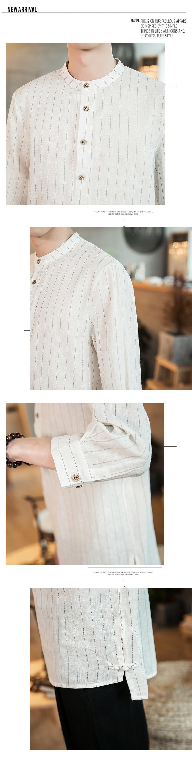 春季新款条纹亚麻盘扣小立领衬衫中国风QT4029-CS88-P45