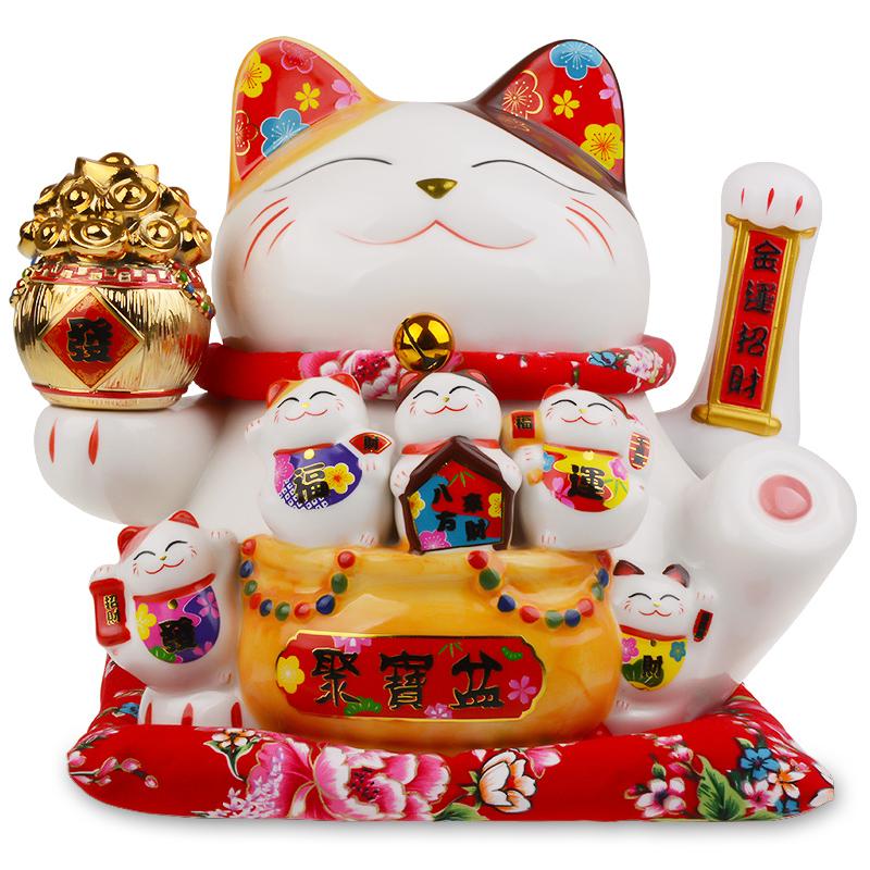 招财猫摆件店铺开业礼品自动招手摇手大号陶瓷家居客厅创意发财猫