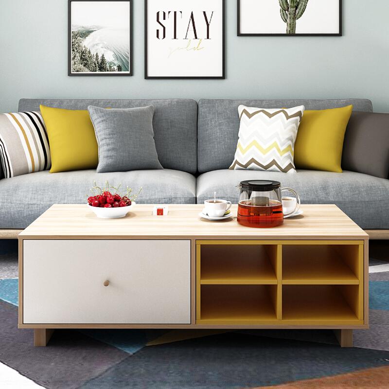 Bàn thấp căn hộ nhỏ phòng khách bàn cà phê TV kết hợp tủ đồ nội thất đa chức năng bàn trà mini bàn cà phê lắp ráp 1,2 mét - Bộ đồ nội thất