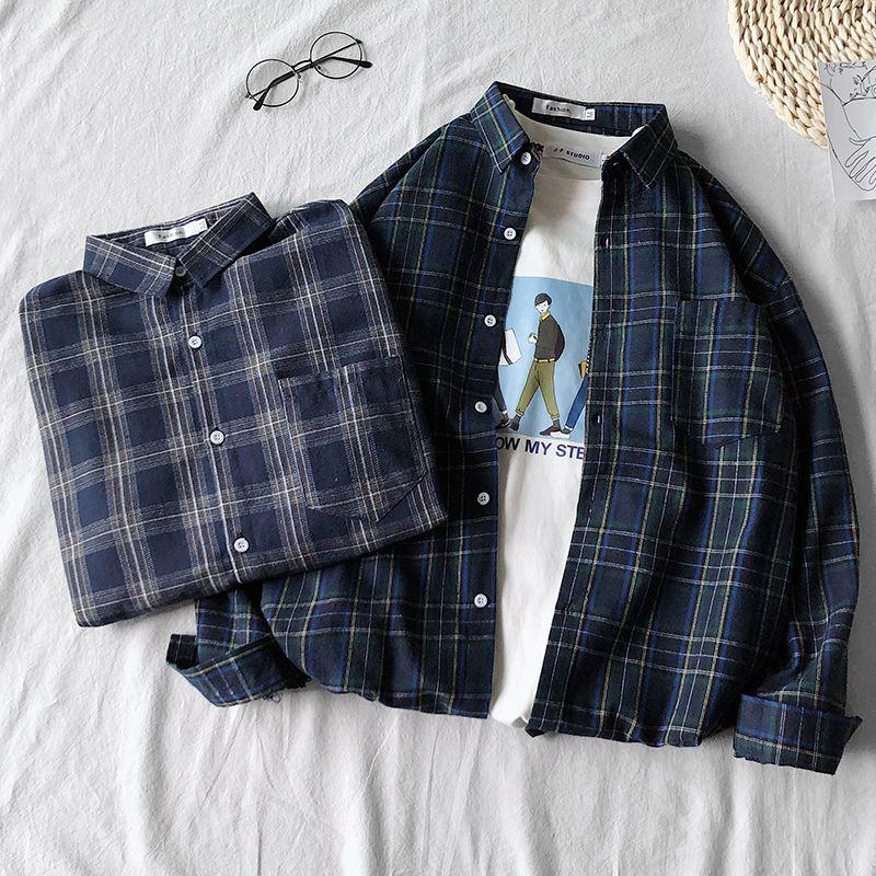 2019港风韩版衬衫男士长袖个性oversize拼色格子衬衣个性潮搭