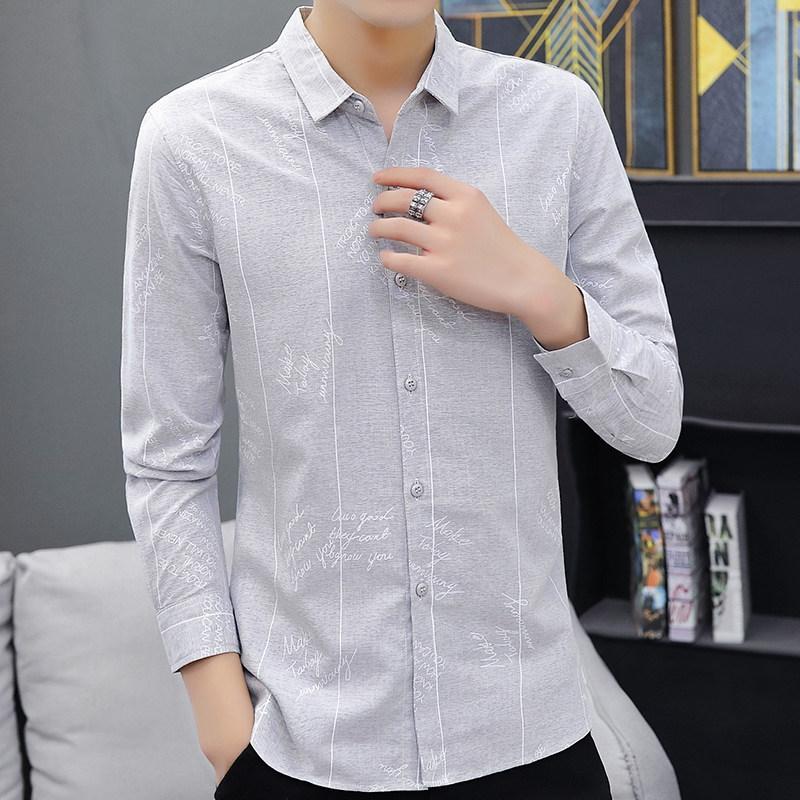 新款可打底修身长衬衫韩版潮流时尚休闲男百搭的超火帅气衬衫