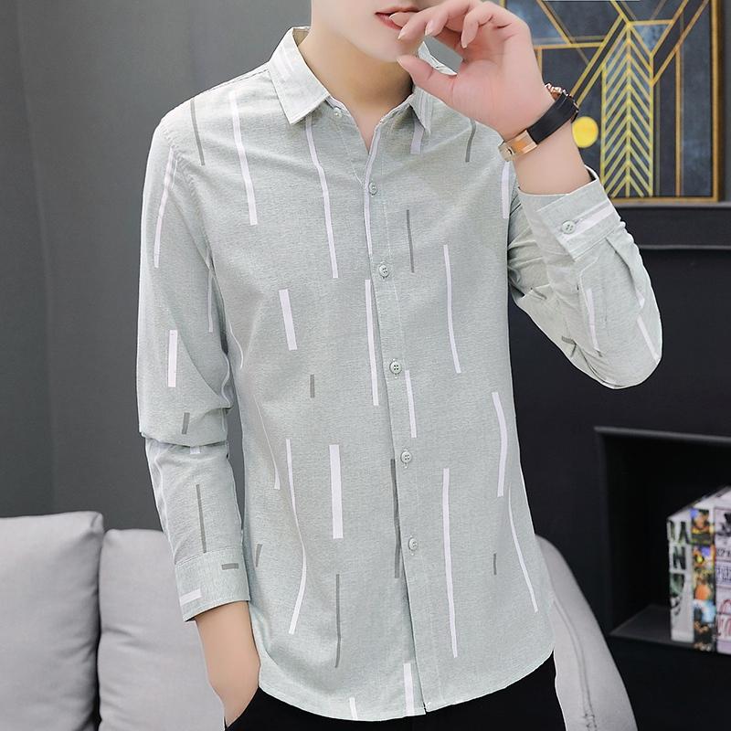 2019秋冬季新款修身长衬衫韩版潮流时尚休闲男百搭超火衬衫