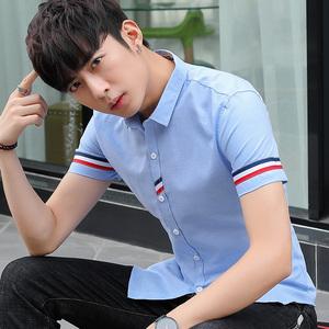 夏季流行男装短袖衬衣男修身亚博开户牛津纺帅气青少年潮流衬衫