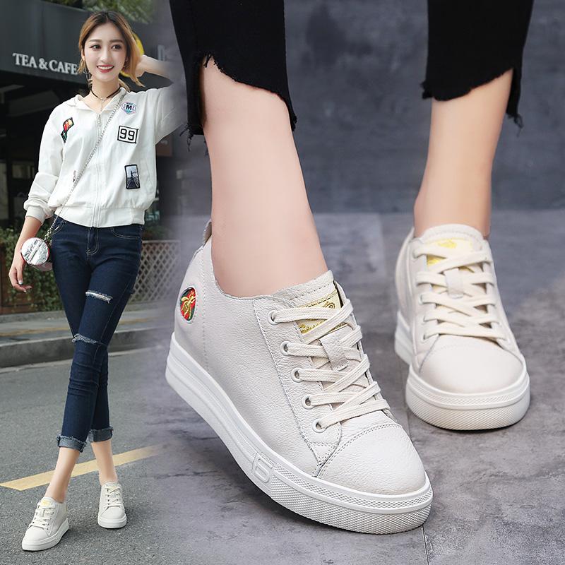 内增高女鞋2019春季新款系带真皮百搭厚底小白鞋女运动休闲板鞋