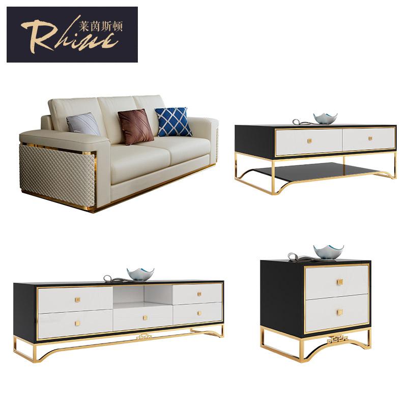 Sang trọng ánh sáng sofa bàn cà phê tủ TV side một số mô hình đồ nội thất phòng set Hồng Kông phong cách phù hợp với bài da hiện đại sofa